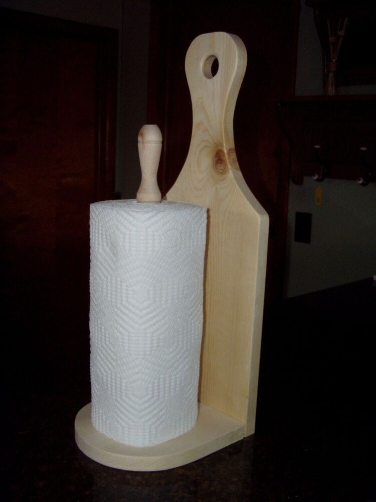 Counter Top Stand Wood Paper Towel Holder Solid Pine