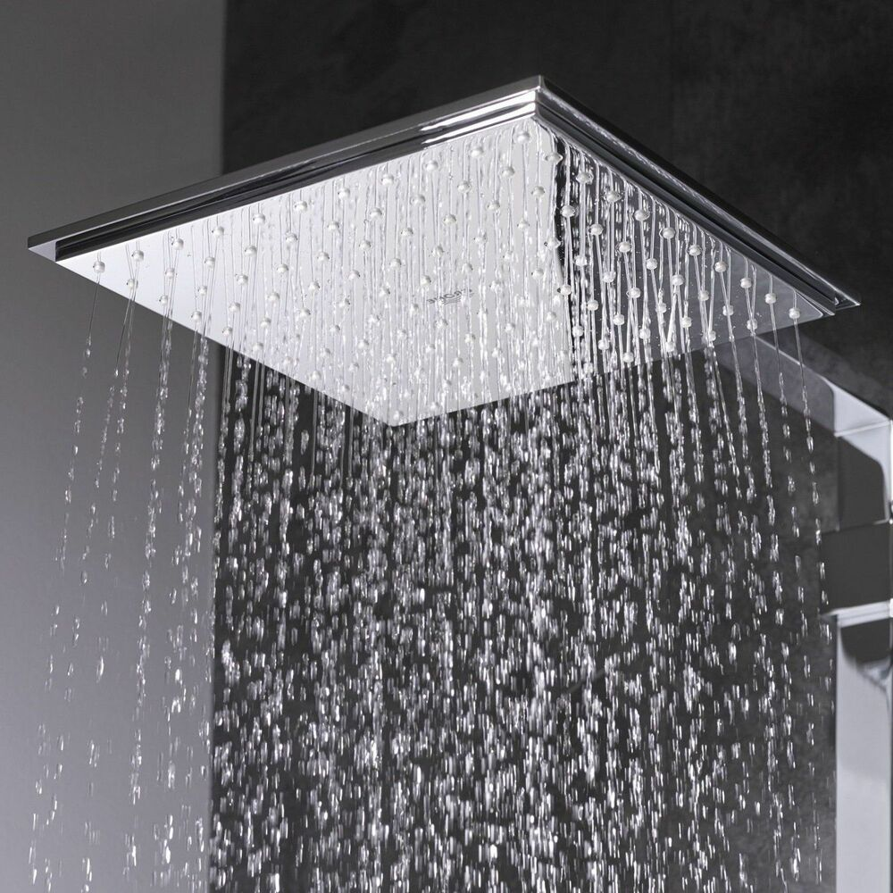 grohe euphoria cube 150 square rain shower head chrome new 4005176907166 ebay. Black Bedroom Furniture Sets. Home Design Ideas