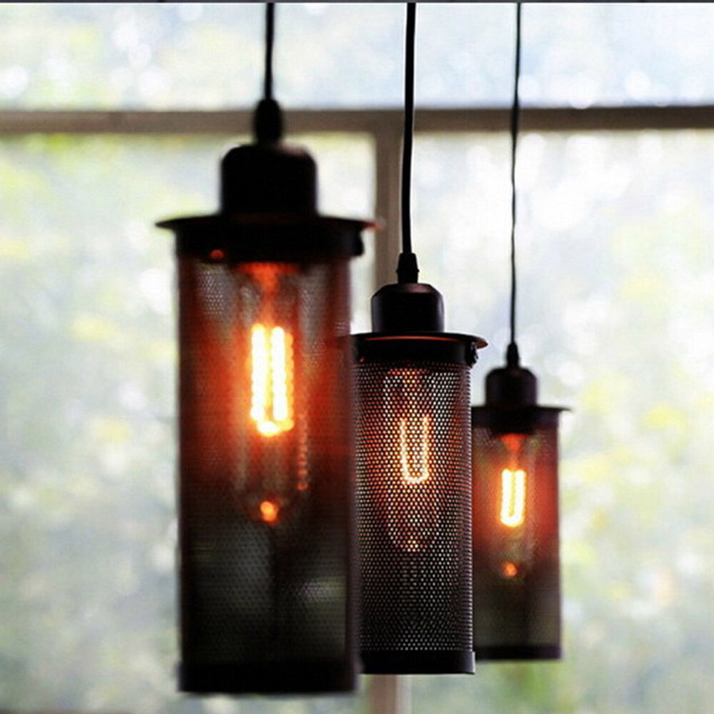Retro industrial diy ceiling lamp edison light chandelier for Diy edison light fixtures