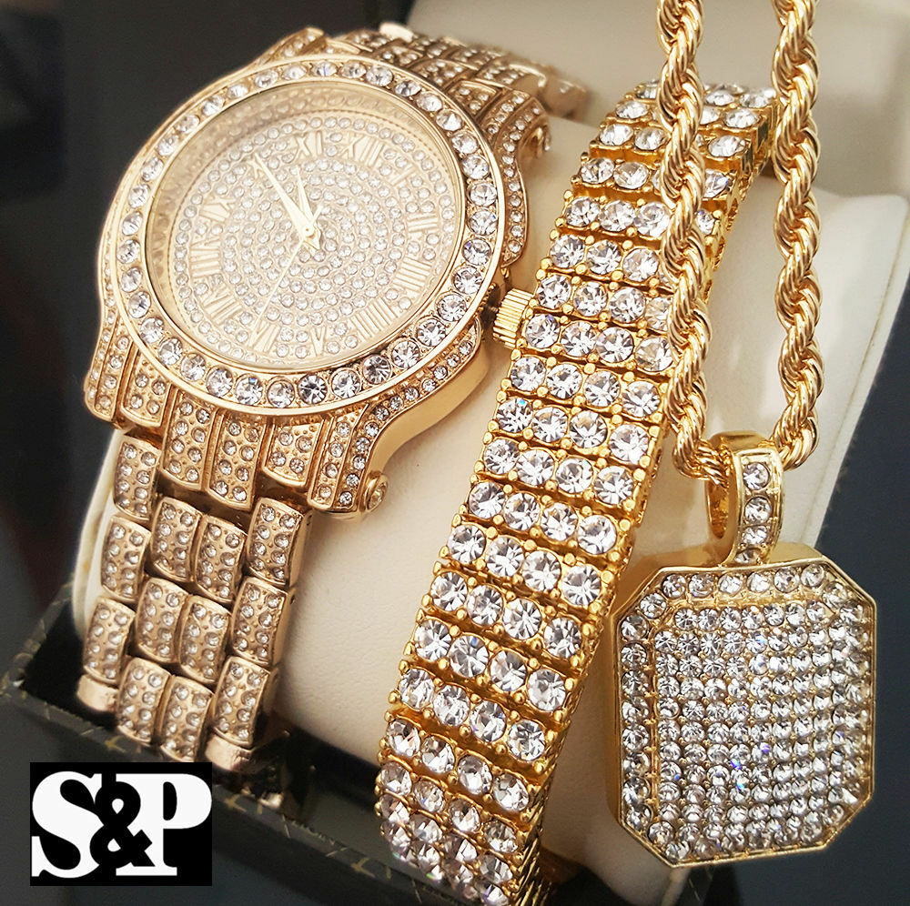 Men Hip Hop Iced Out Gold PT Simulated Diamond WATCH
