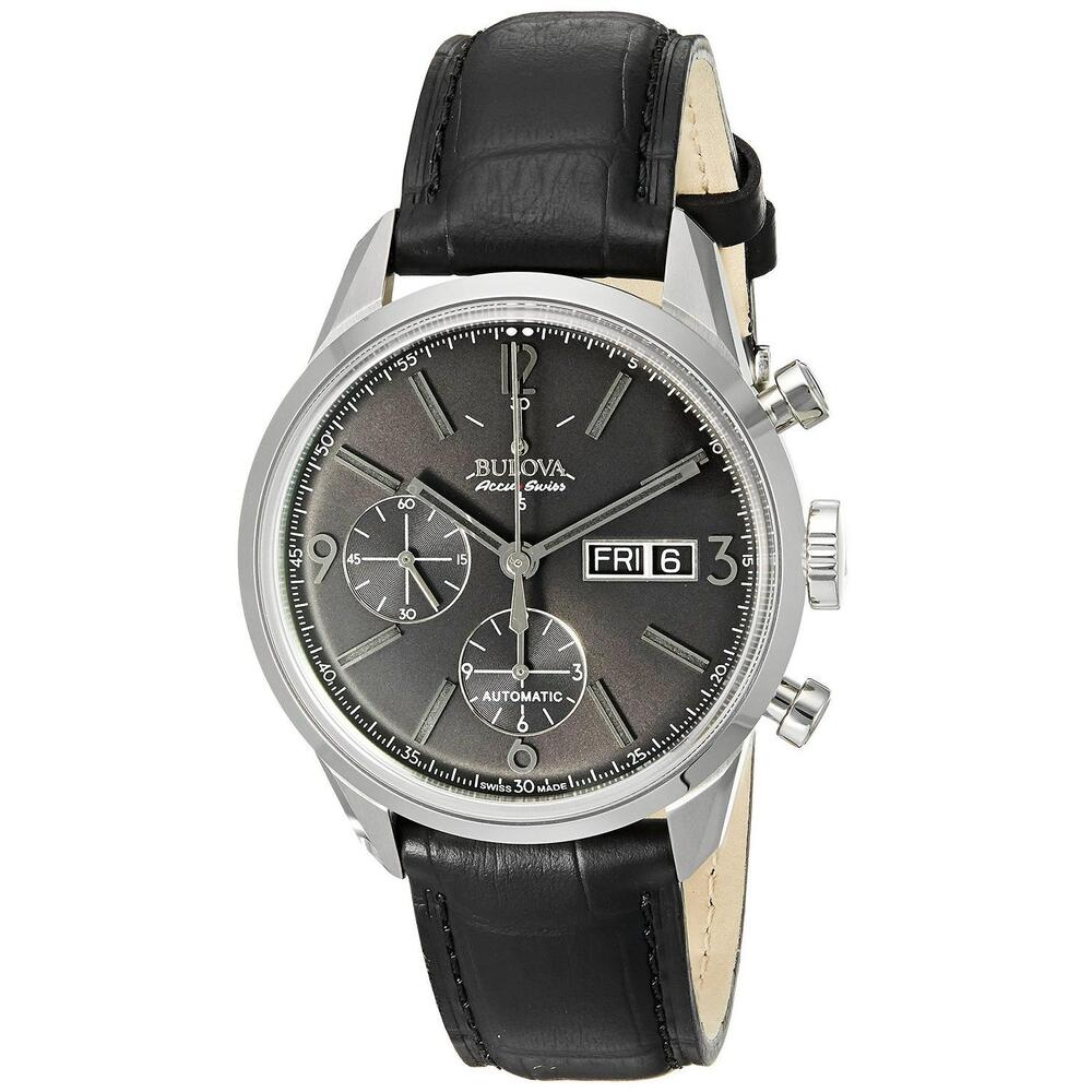 Bulova accutron men 39 s 63c115 accu swiss murren chronograph black leather watch ebay for Watches bulova