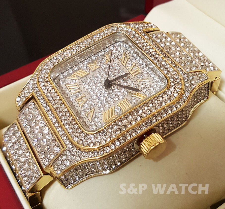 Mens Rick Ross Two Tone Full Iced Out Bling Hip Hop Lab Simulated Diamonds Watch Ebay