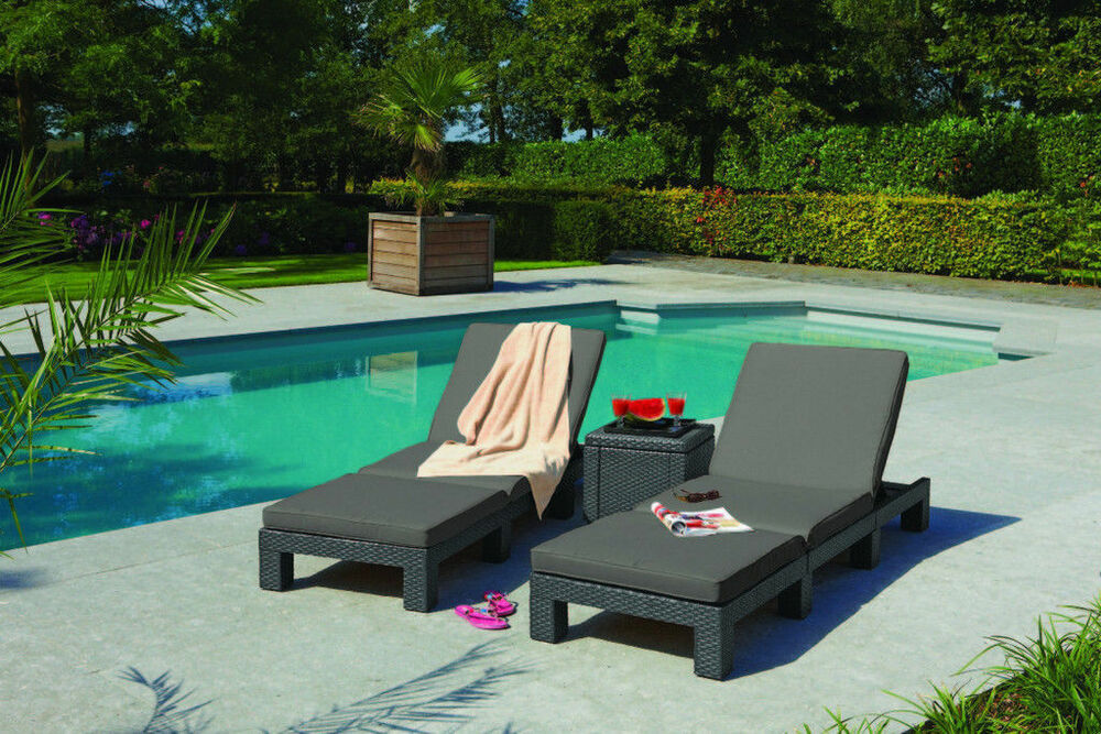 sonnenliege relax gartenliege polyrattan liege liegestuhl garten rattanliege ebay. Black Bedroom Furniture Sets. Home Design Ideas