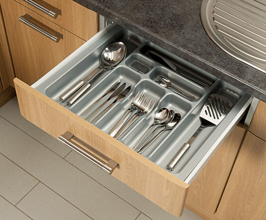 grey cutlery tray box insert cabinet w 30 90cm kitchen drawer storage organiser ebay. Black Bedroom Furniture Sets. Home Design Ideas