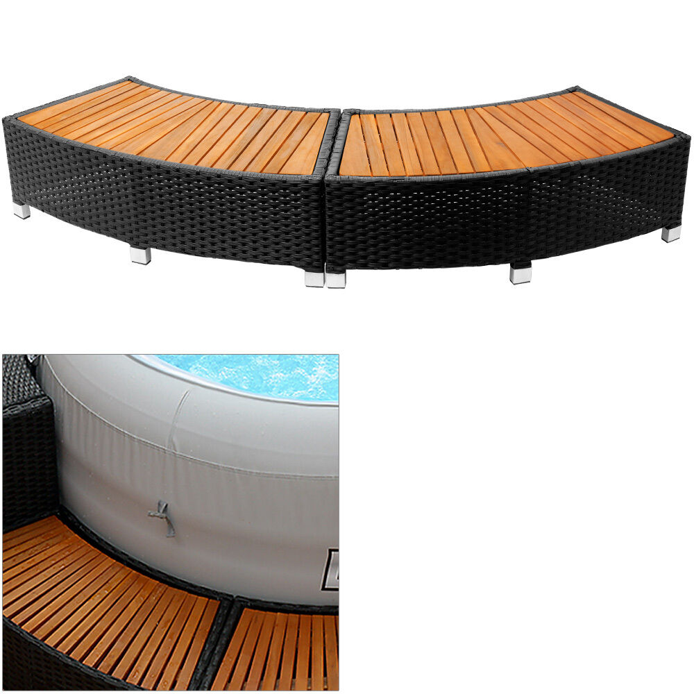 polyrattan einstieg whirlpool stufe treppe einstiegsstufe pool umrandung 2er set ebay. Black Bedroom Furniture Sets. Home Design Ideas