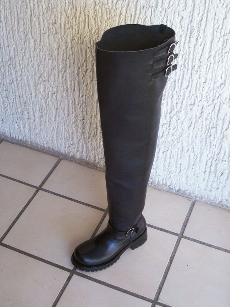 thigh high 32 inches shafts engineer boots heavy leather