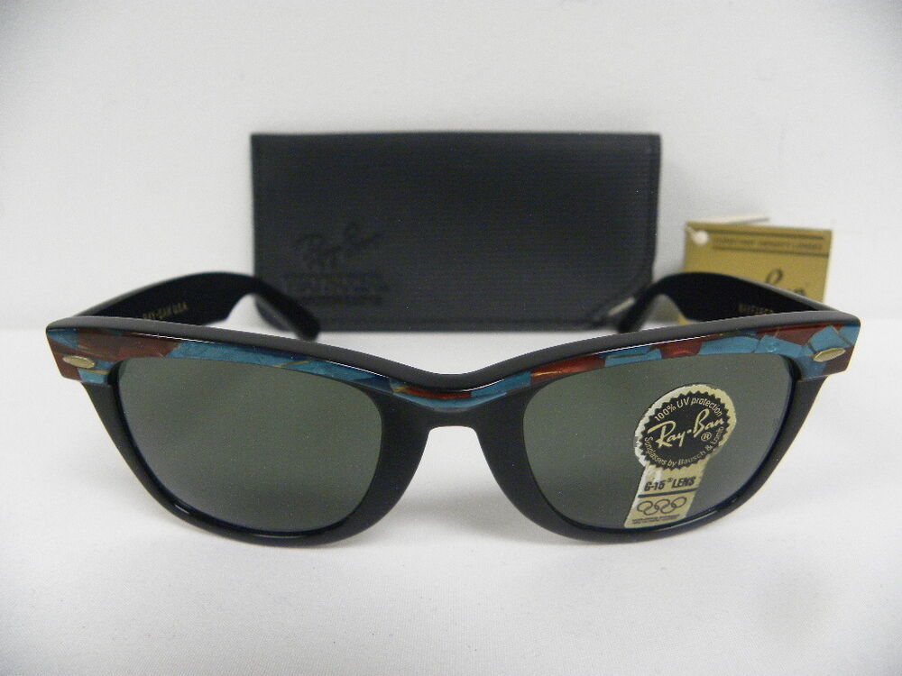 15370ca55f Details about New Vintage B L Ray Ban Wayfarer Turquoise Mosaic Ebony  Street Neat W1088 50mm