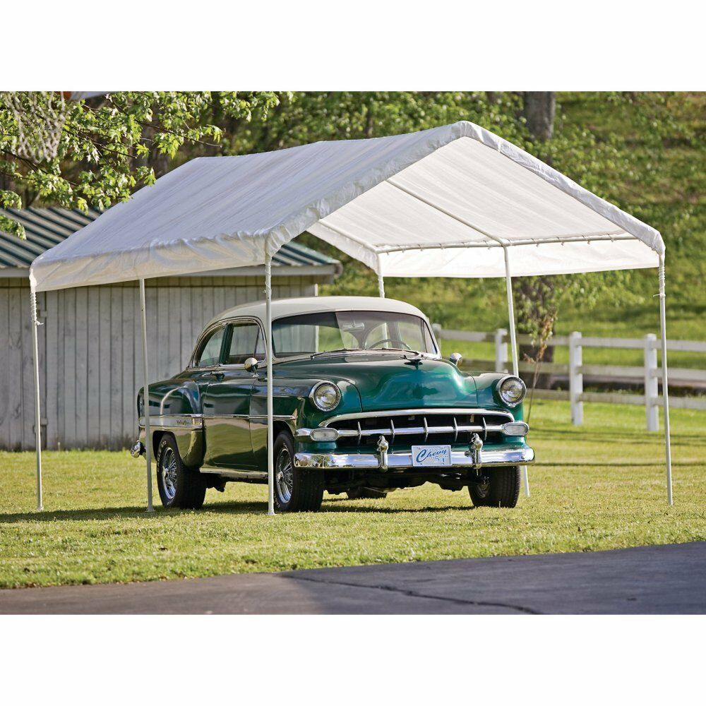 Portable Carports 10 20 : Shelterlogic ft deluxe all purpose canopy carport