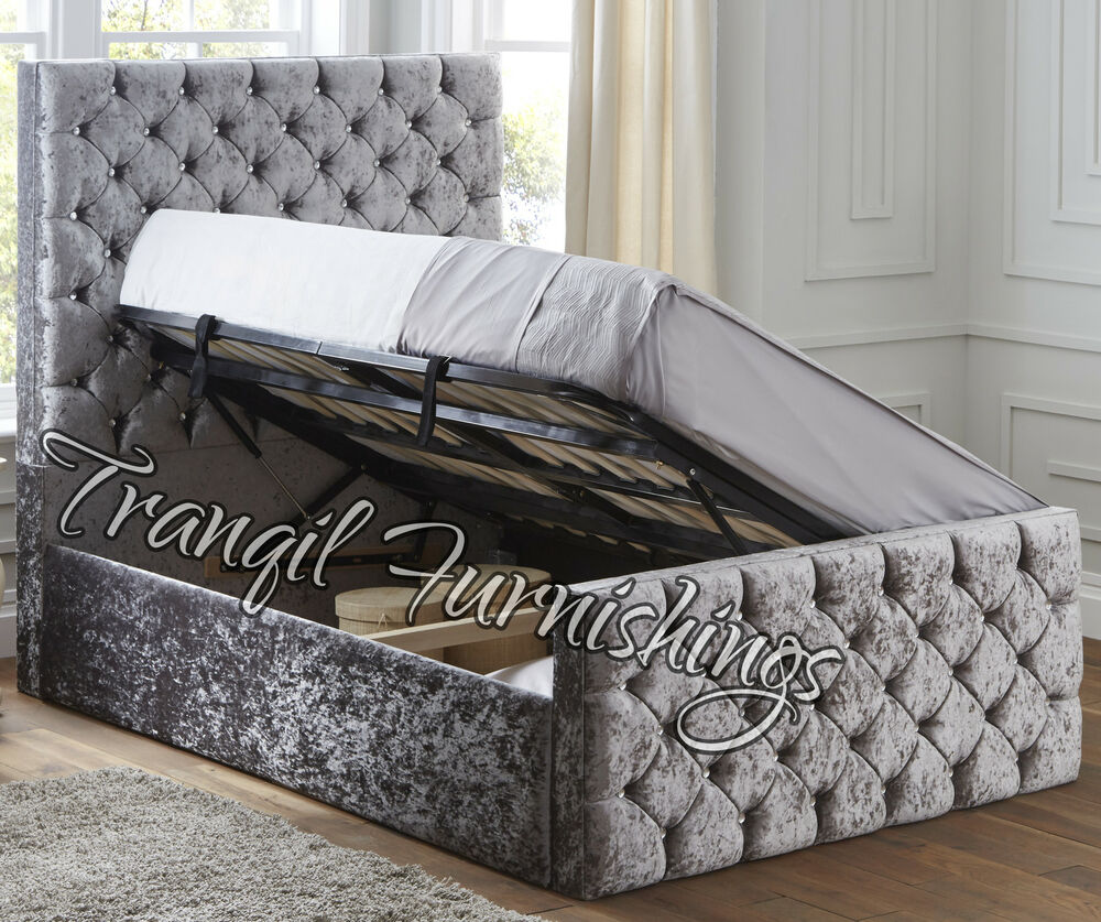 Paco storage side opening ottoman bed upholstered in for Upholstered king bed with storage