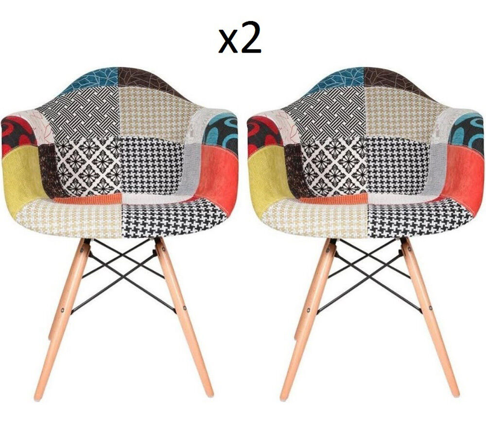 Vintage Patchwork Chair Lounge Fabric Armchair Set 2 Funky