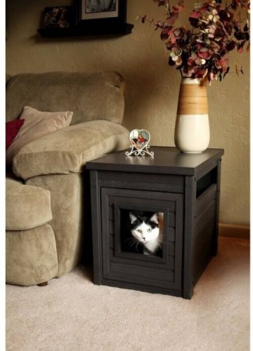 Cat Litter Box Furniture Kitty Enclosure End Table Hidden