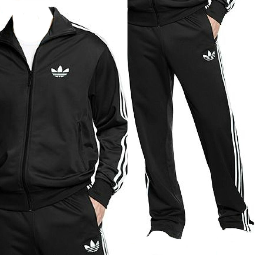mens adidas firebird full tracksuit polyester black sizes s m l xl new. Black Bedroom Furniture Sets. Home Design Ideas