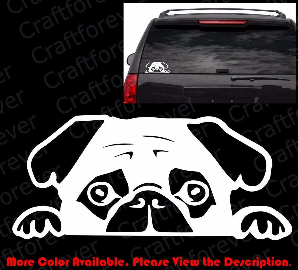 Peeking Pug Puppy Doggy Dog Die Cut Vinyl Decal Car Window