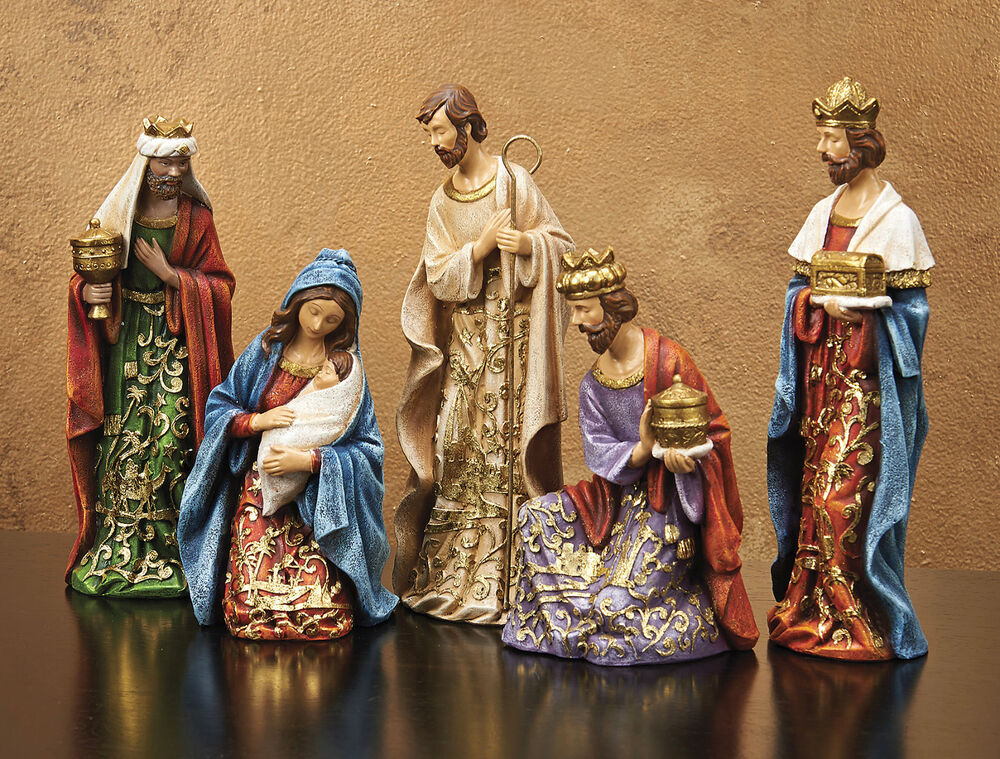 christmas decorations joy to the world 5 piece nativity set ebay. Black Bedroom Furniture Sets. Home Design Ideas