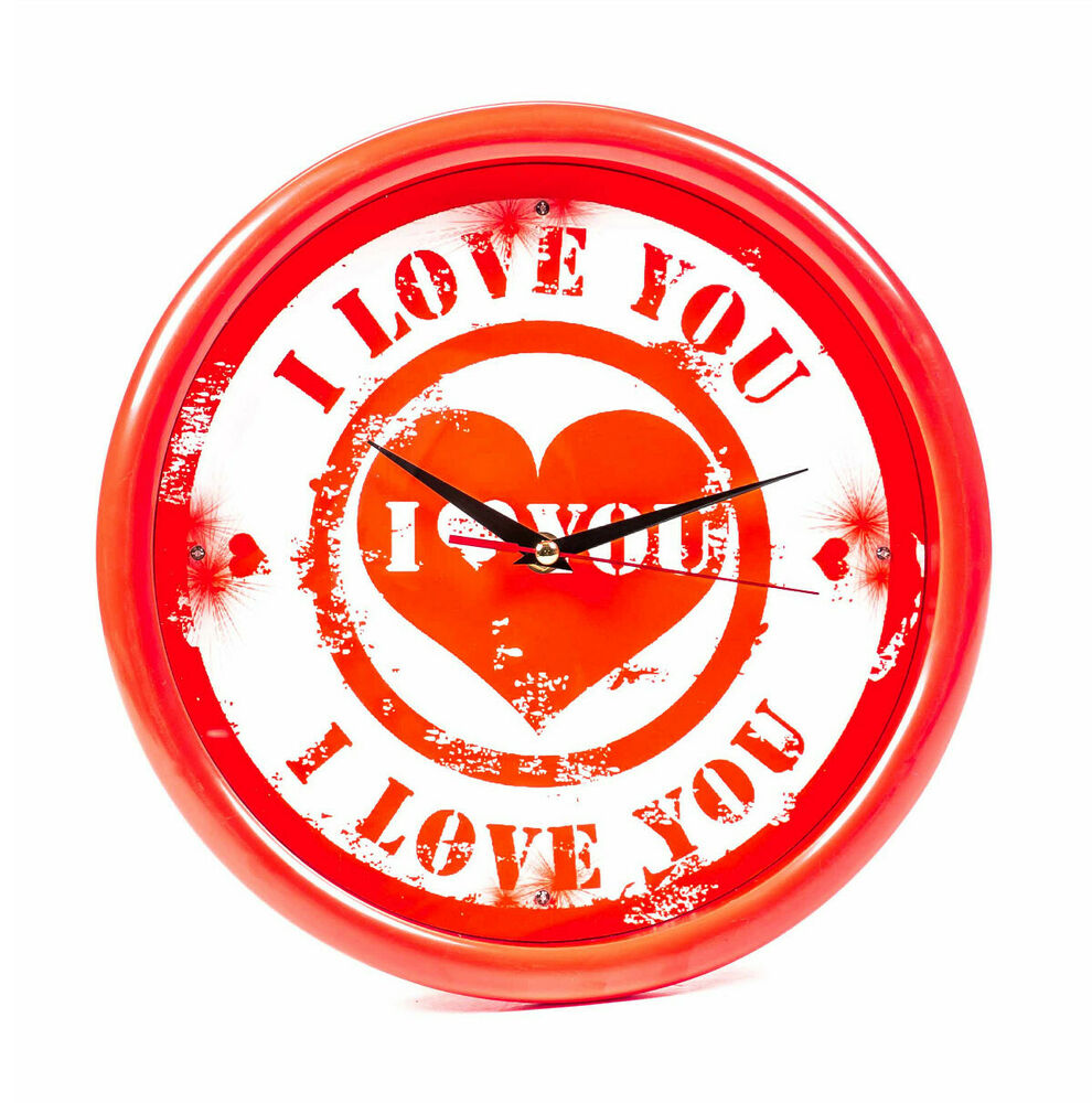 Wanduhr i love you 4 rote led wand uhr beleuchtung for Wohnzimmeruhr digital