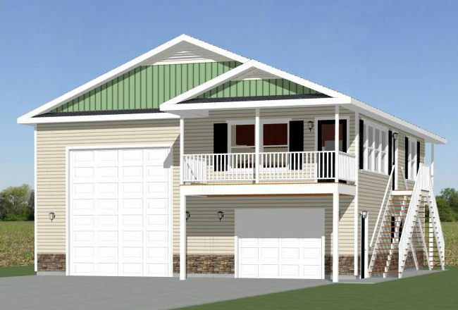 Rv Garage Plans With Apartments: 36x40 Apartment With 1-Car 1-RV Garage -- 901 Sqft -- PDF