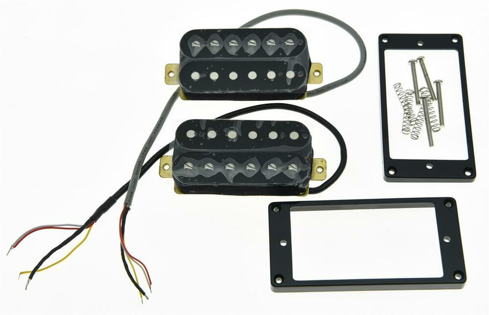 2x black alnico v power sound humbucker neck bridge pickup guitar pickups set ebay. Black Bedroom Furniture Sets. Home Design Ideas