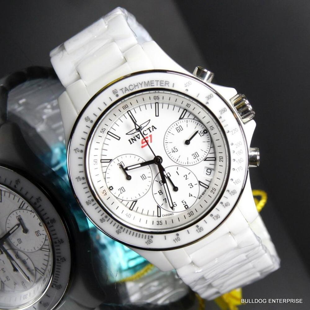 Mens invicta s1 rally overdrive chronograph white ceramic 45mm watch new ebay for Ceramic man watch