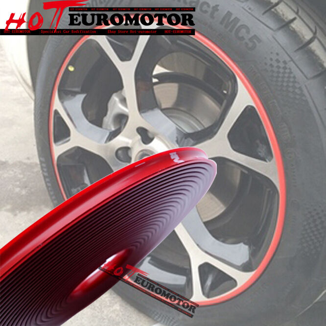 Vehicle Moulding Trim Red Rubber Rim Wheel Protector 4