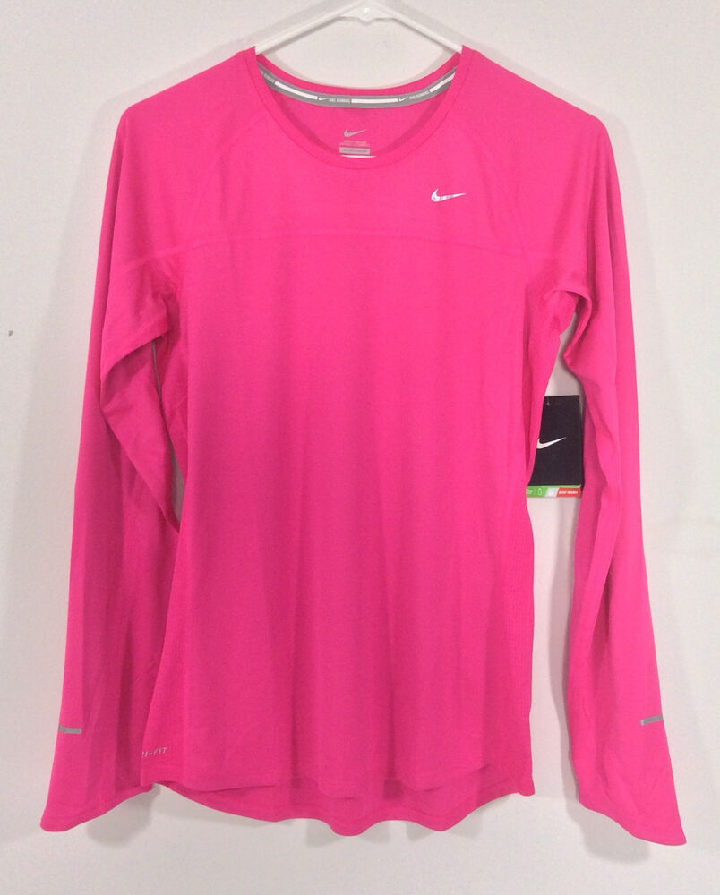 New nike women 39 s miler long sleeve running top shirt pink for Women s running shirts