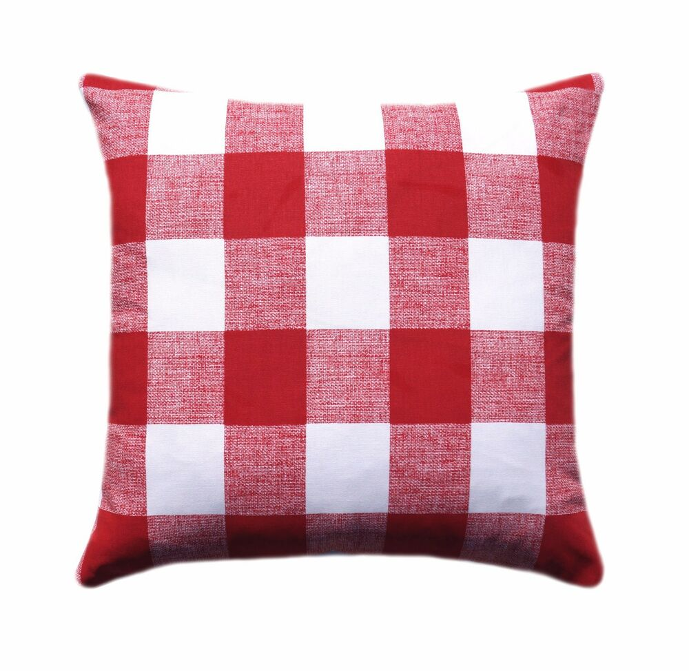 Red Buffalo Check Plaid Pillow Anderson Lipstick Red
