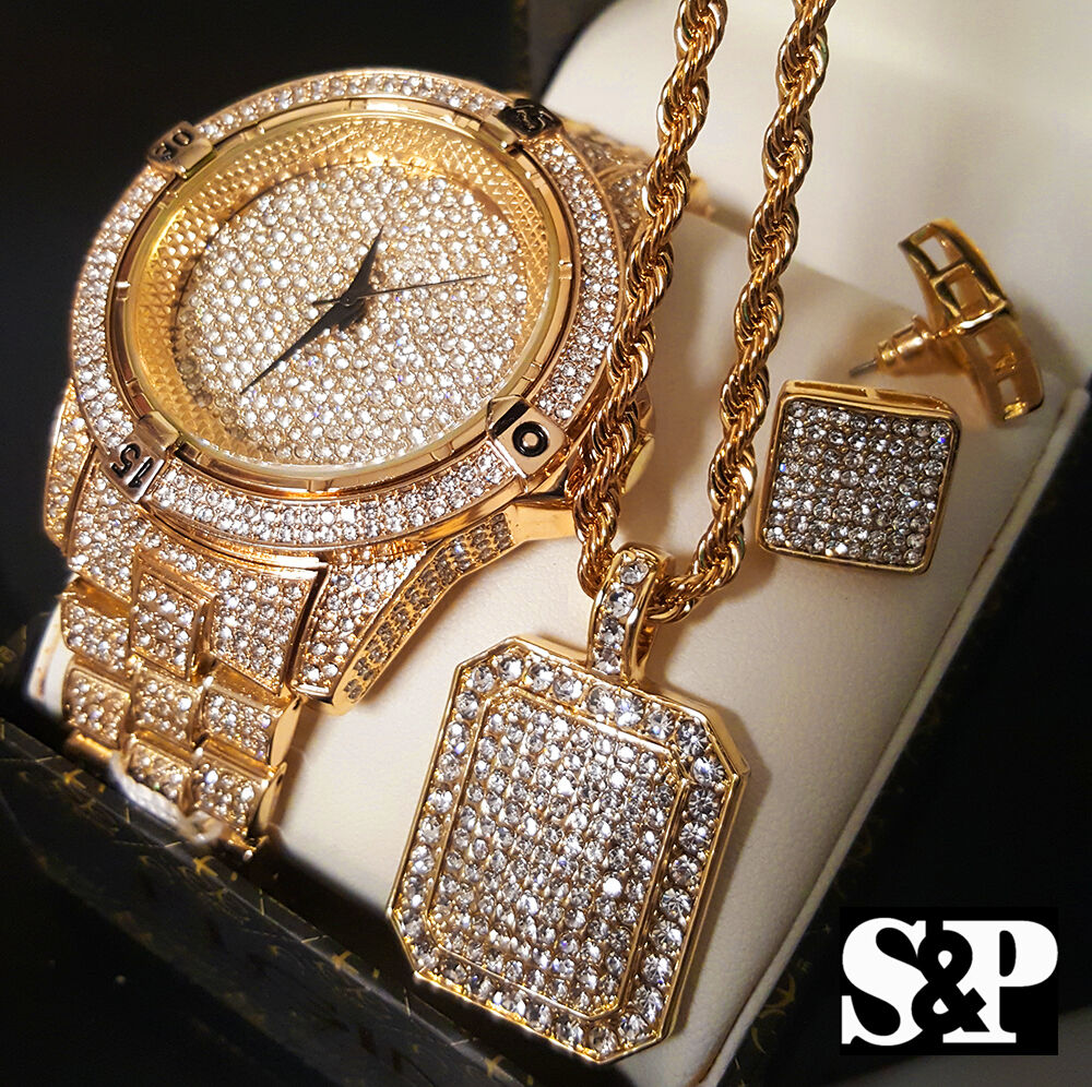 Men hip hop iced out gold pt lab diamond watch necklace for Rapper watches
