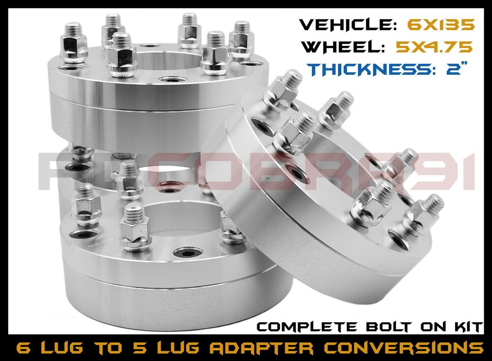 Chevy Truck Bolt Pattern Chart >> 4 PC FORD 6x135 MM TO 5x4.75 GMC CHEVY PATTERN USE 5 LUG WHEELS ON A FORD 6X135 | eBay