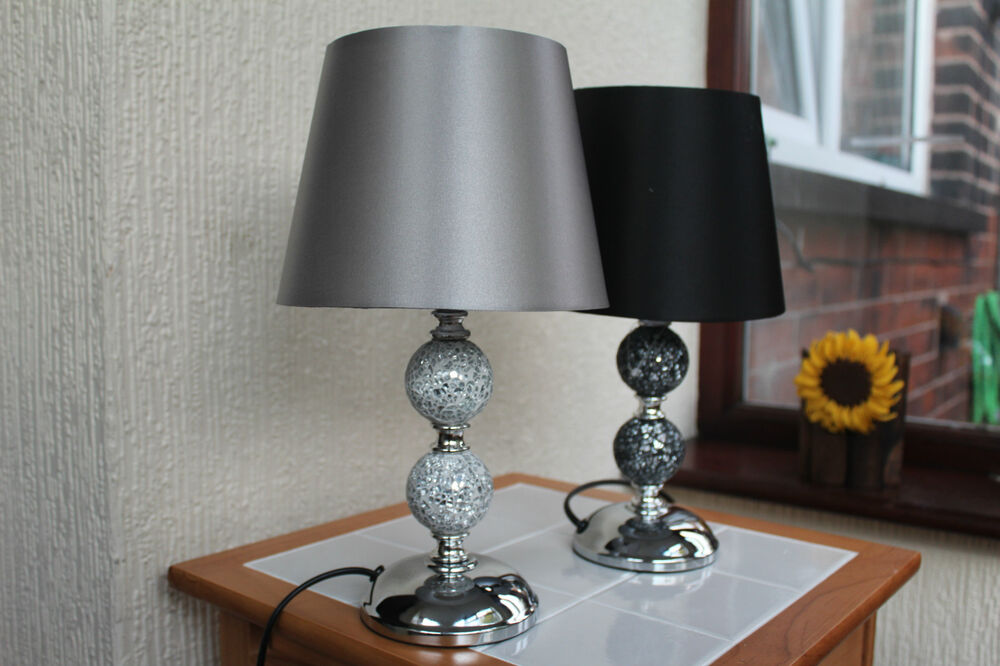 Contemporary Mosaic Table Lamp Black Amp Silver Bedside