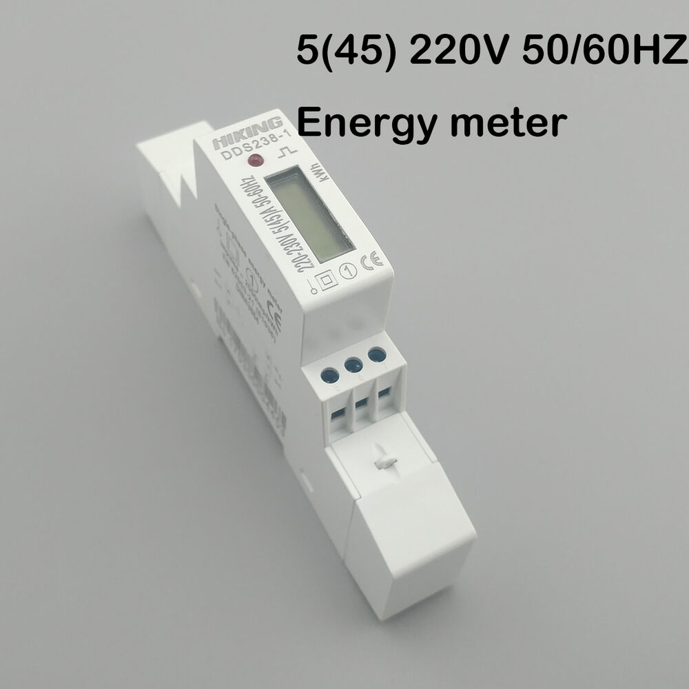 5 45 a 230v 45a single phase din rail kwh watt hour din rail energy meter lcd ebay. Black Bedroom Furniture Sets. Home Design Ideas