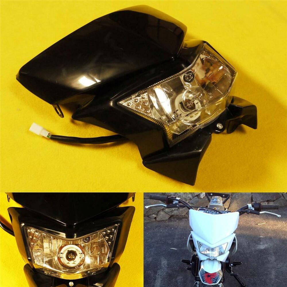 Motorcycle Twin Front Headlight Double Dual lamp W