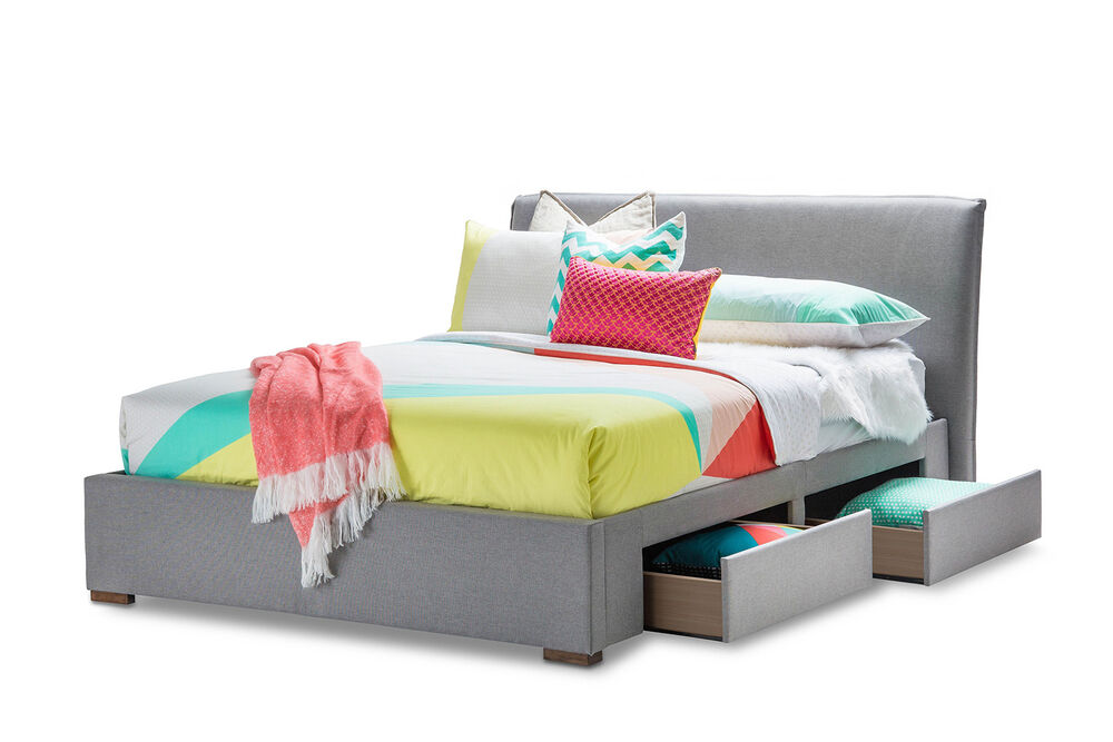 Modern grey fabric upholstered queen size bed frame with for Upholstered bed with drawers
