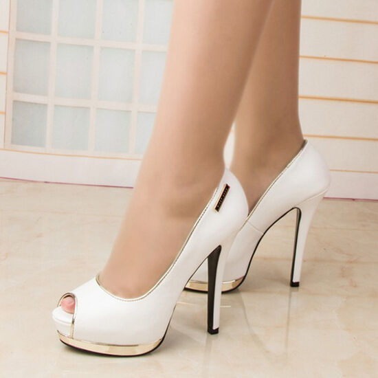 WOMEN SHOES DESIGNER WHITE PEEP TOE HIGH HEELS CELEBRITY ...