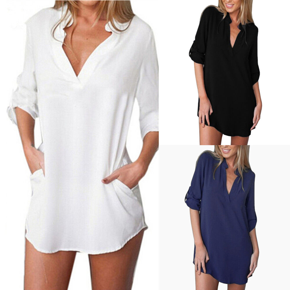 Size m 3xl womens v neck chiffon top long sleeve button for Misses long sleeve tee shirts