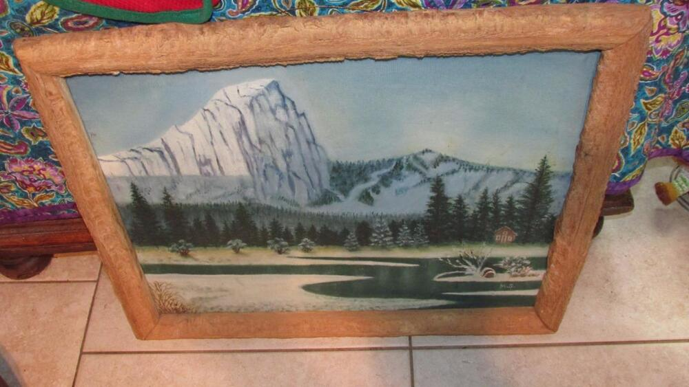Antique oil on canvas with fabulous hand hewn wood frame for Hand hewn log cabin for sale