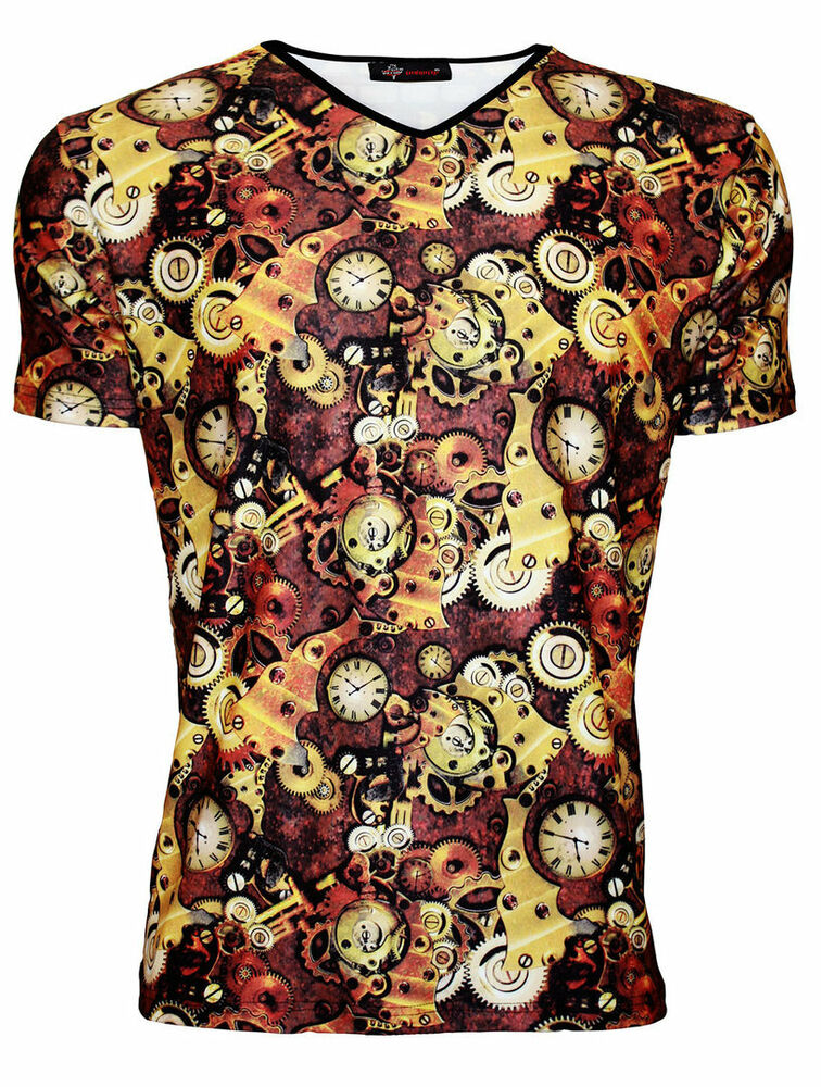 Men 39 s steampunk machine mechanical cogs all over print v for Machine to print t shirts