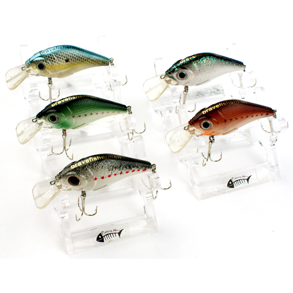 Lot 5 pcs kinds of fishing lures crankbaits hooks minnow for Fishing lures ebay
