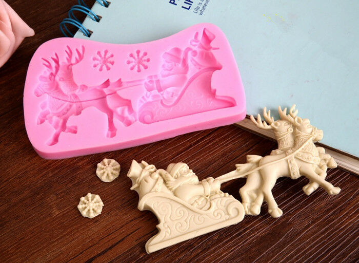 Christmas Cake Decoration Molds : NEW Santa Claus Deer Silicone Molds Christmas Cake ...