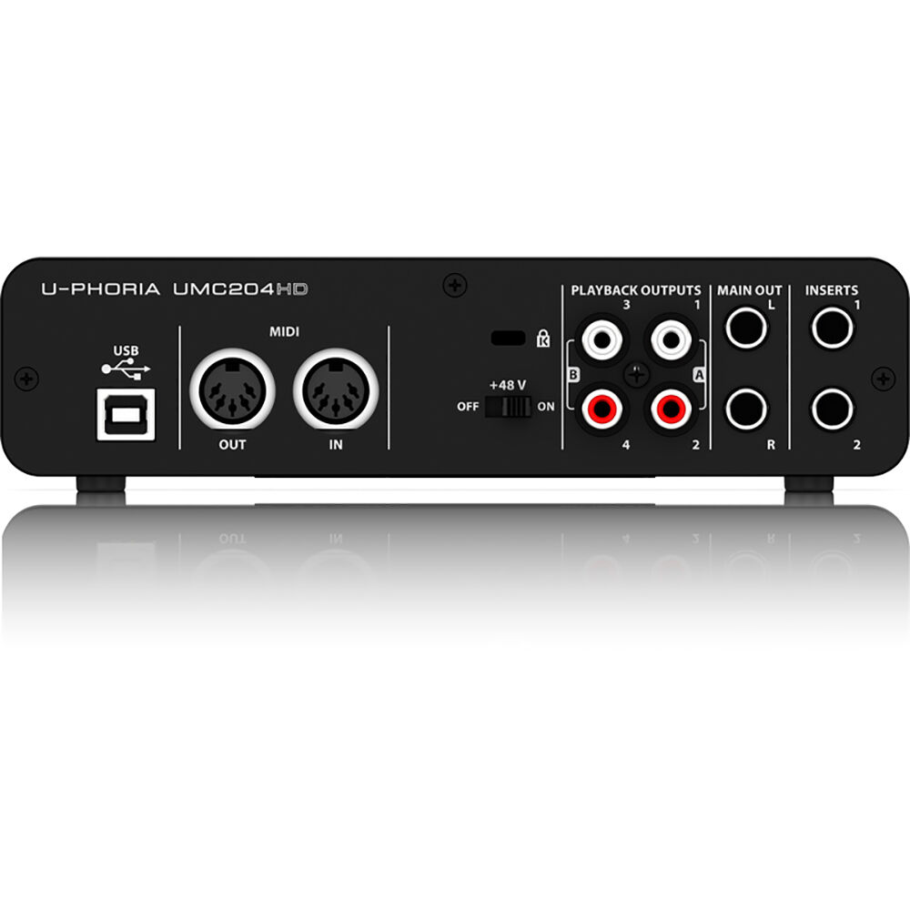 behringer u phoria umc204hd 2 in 4 out usb 2 0 audio interface w midas preamps ebay. Black Bedroom Furniture Sets. Home Design Ideas