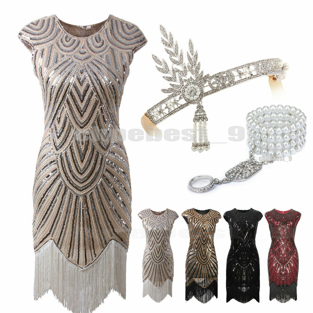 1920s flapper dresses great gatsby sequin beaded fringe dress art deco plus size ebay. Black Bedroom Furniture Sets. Home Design Ideas