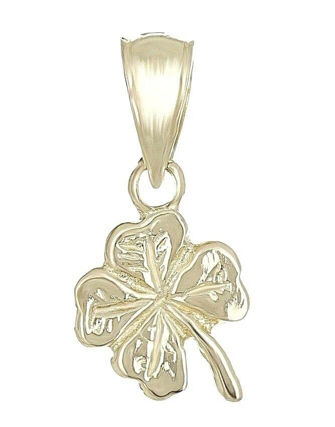 New Solid 14k Yellow Gold Small Irish Lucky Four Leaf