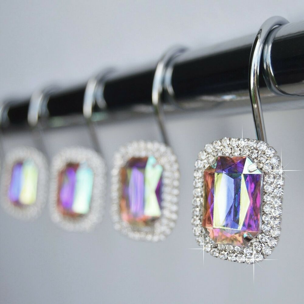 Shower Curtain Hooks Rings Luxurious Rhinestones Bling
