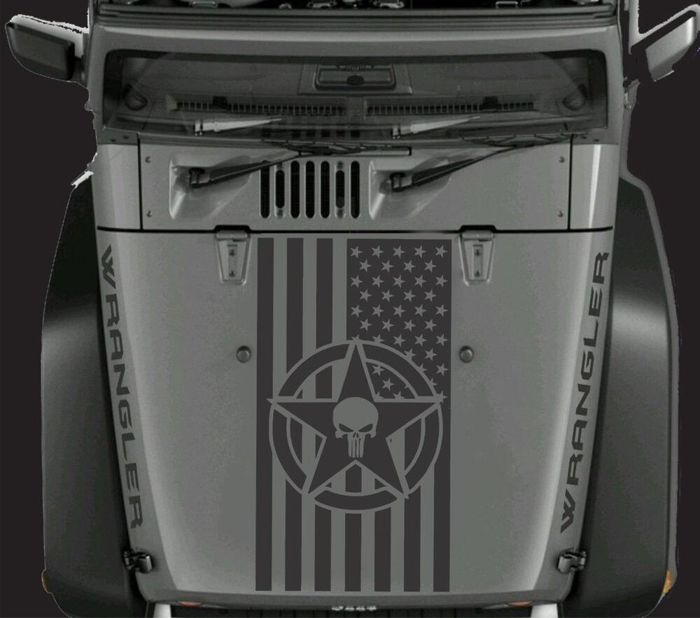 American Flag Military Star Punisher Vinyl Hood Decal Fits