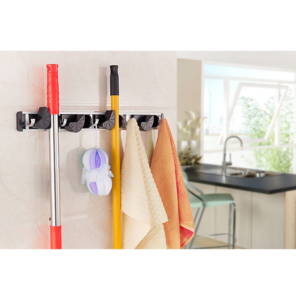 kitchen tool organizer wall mounted mop organizer holder brush broom hanger 3370