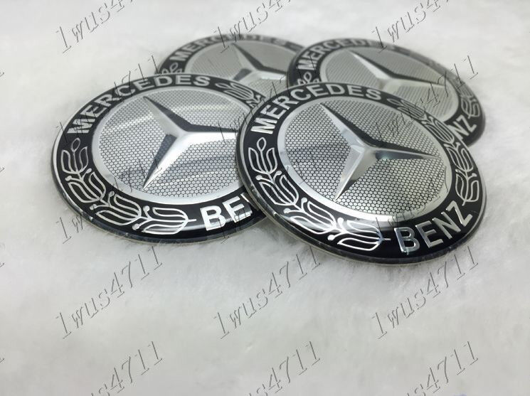 4pcs 65mm wheel center hub caps decorative stickers for for Mercedes benz wheel cap emblem