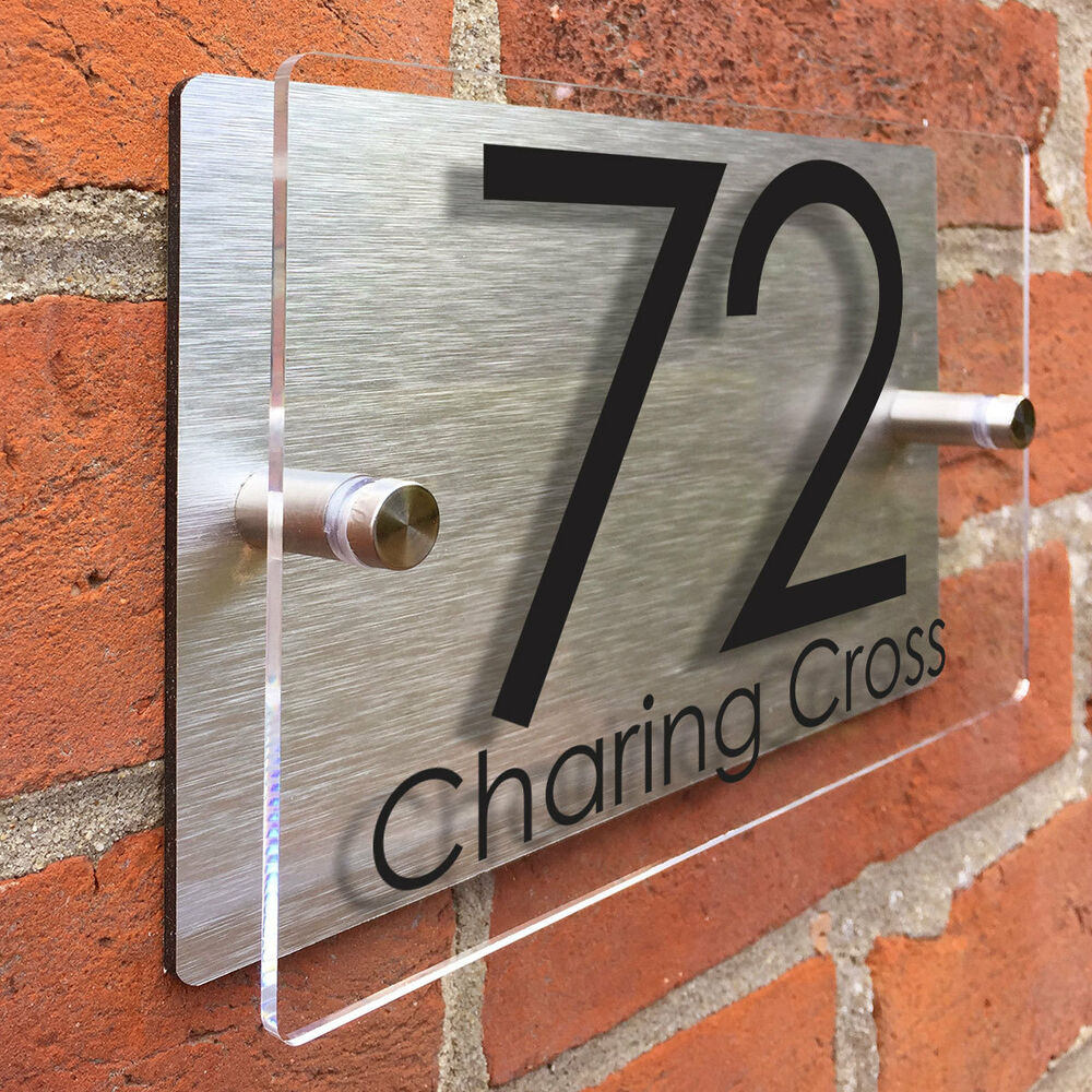 clear acrylic house sign modern brushed aluminium door number name road plaque ebay. Black Bedroom Furniture Sets. Home Design Ideas
