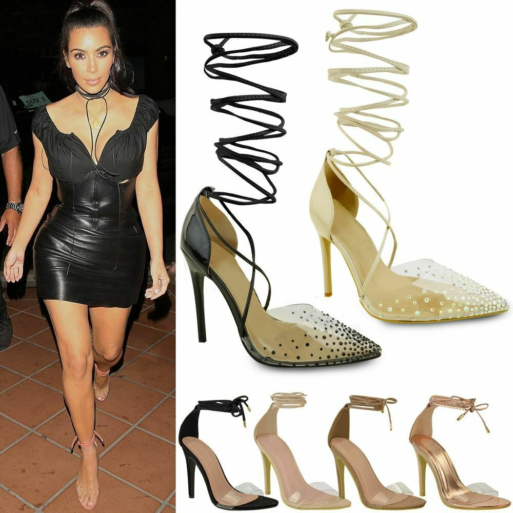 c641ba8fa92 Details about Womens Ladies High Heel Barely There Clear Perspex Ankle  Strappy Sandals Size UK
