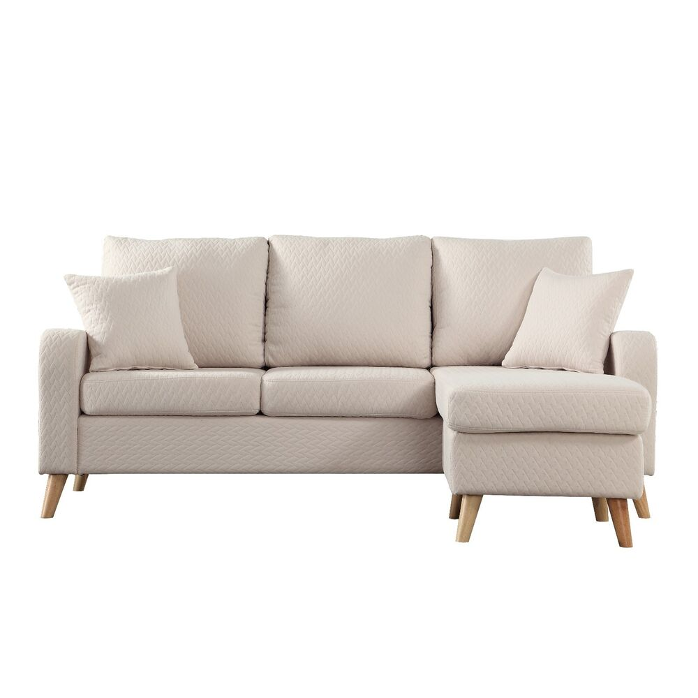 modern fabric small space sectional sofa with reversible chaise in beige ebay. Black Bedroom Furniture Sets. Home Design Ideas