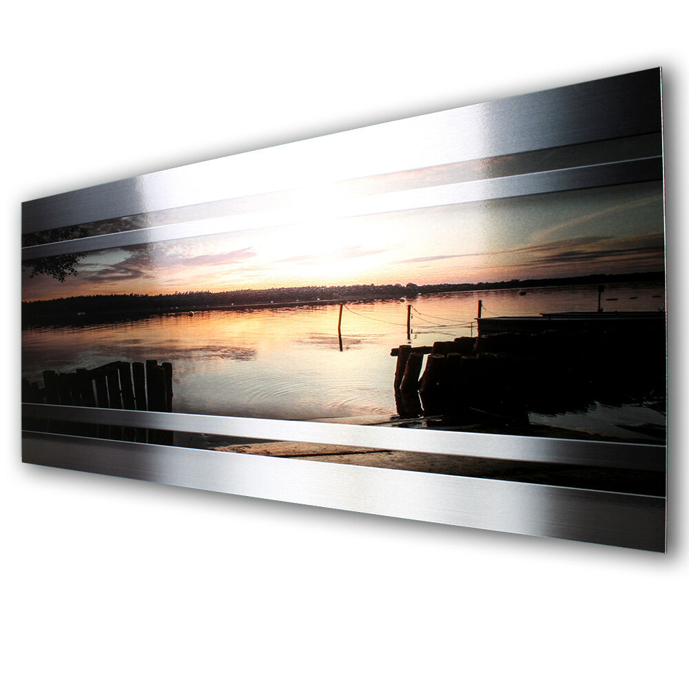 sonnenuntergang abstrakt metallic wall art designer wandbild metall aus alu 70cm ebay. Black Bedroom Furniture Sets. Home Design Ideas