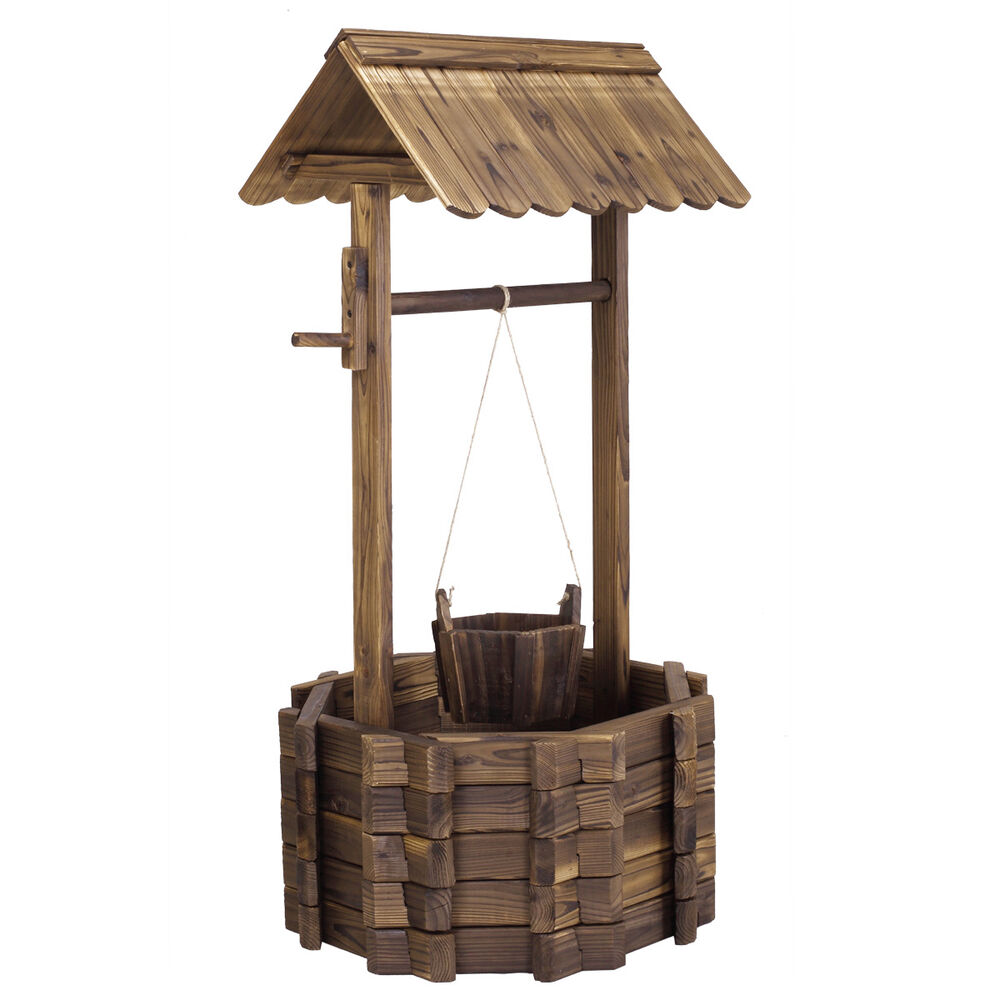 Wooden wishing well bucket flower planter patio garden for Wooden garden decorations