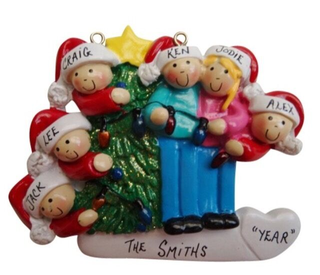 Personalized christmas tree lights family of 6 ornament ebay for Custom christmas tree ornaments